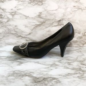 Linea Paolo Black Square Toe With Buckle Heel